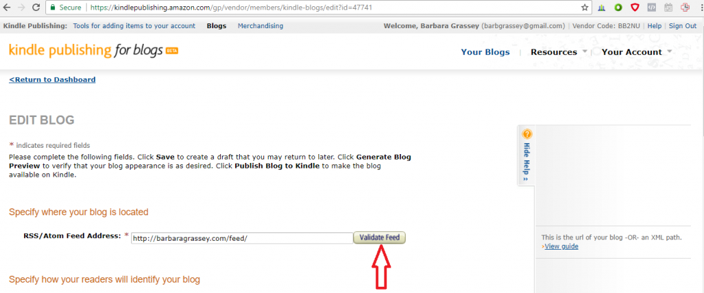add your blog to kindle